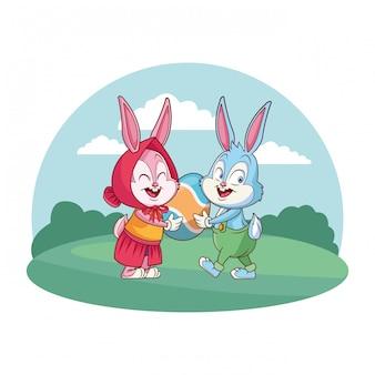 Leuke pasen-de aardachtergrond van konijntjes gelukkige vrienden om kader
