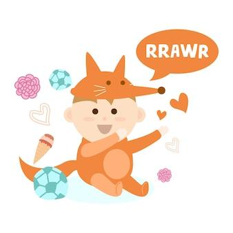 Leuke pasgeboren baby in een dierenkostuum ontwerpserie