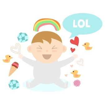 Leuke pasgeboren baby lachende print ontwerpserie