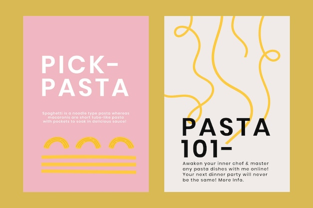 Leuke pasta doodle sjabloon vector voor voedsel poster dual set