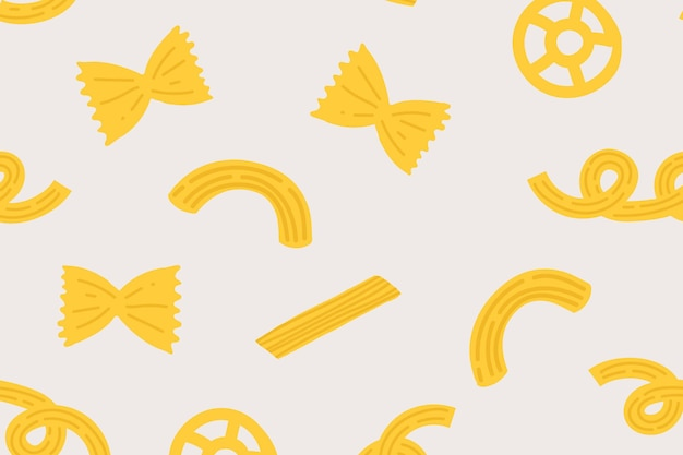 Leuke pasta voedselpatroon vector achtergrond in gele schattige doodle stijl
