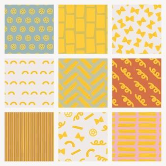 Leuke pasta voedselpatroon vector achtergrond in schattige doodle stijlenset