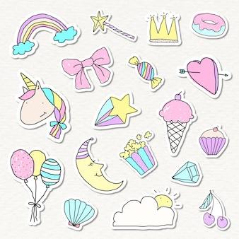 Leuke pastel doodle stickers met witte randen set Gratis Vector
