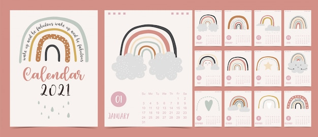 Leuke pastel kalender 2021 met regenboog, regen en wolk