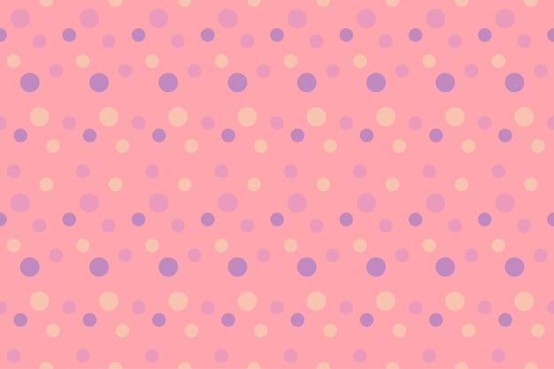 Leuke pastel roze achtergrond met verschillende stippen geometrische naadloze patroon. ontwerp voor achtergrond, behangachtergrond, kleding, inwikkeling, batik, stof. vector.