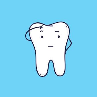 Leuke peinzende tand. grappige doordachte mascotte of symbool voor tandheelkundige, mondverzorging of orthodontische kliniek. mooie stripfiguur geïsoleerd op blauwe achtergrond. kleurrijke afbeelding in vlakke stijl.