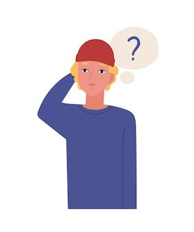 Leuke peinzende tiener geïsoleerd op een witte achtergrond. grappige nadenkende man in hoed en gedachte ballon met ondervragingspunt. jonge man denken of overwegen. platte cartoon vectorillustratie.