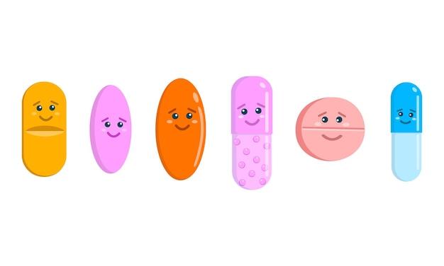 Leuke pillen tekens geïsoleerd op een witte achtergrond. set tabletten en capsules pictogrammen met grappige gezichten. geneeskunde en gezondheidszorg voor kinderen. cartoon vectorillustratie.