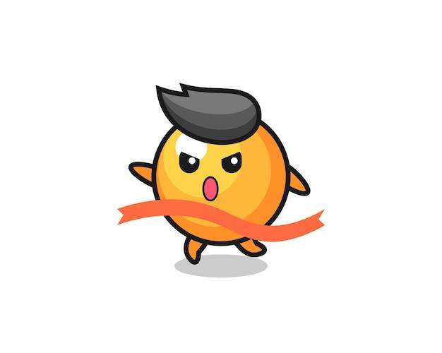 Leuke pingpongbalillustratie bereikt de finish, schattig stijlontwerp voor t-shirt, sticker, logo-element