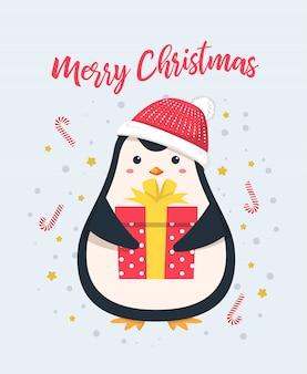Leuke pinguïn die de gift van de kerstmisgift van de santahoed draagt