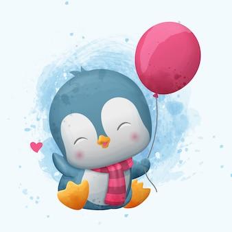Leuke pinguïn die een ballon houdt. aquarel illustratie.