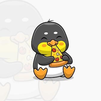 Leuke pinguïn die pizza-cartoon eet