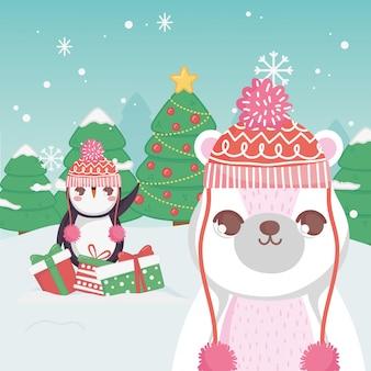 Leuke pinguïn en ijsbeergiften bomen vrolijke kerstmis