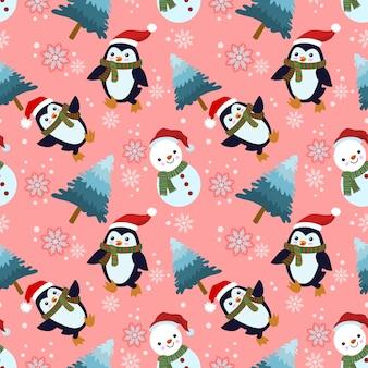 Leuke pinguïn en sneeuwman dragen kerstmuts in naadloos winterpatroon.