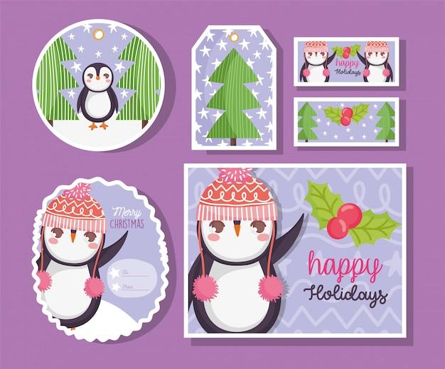 Leuke pinguïn gelukkige vrolijke kerstmis