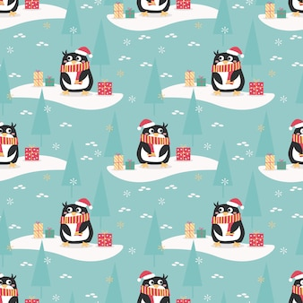 Leuke pinguïn in het naadloze patroon van het kerstmisseizoen