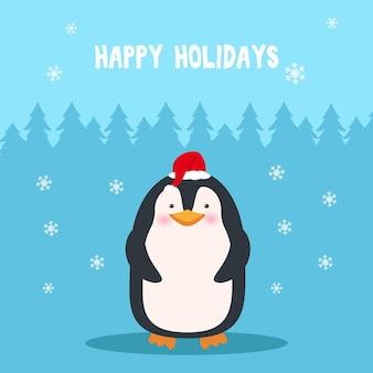 Leuke pinguïn in kerstmuts en sjaal. kerst stripfiguur. nieuwjaarskaart