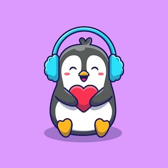 Leuke pinguïn met oorbeschermer die de illustratie van het liefdepictogram houden. dierlijke pictogram concept geïsoleerd. flat cartoon stijl