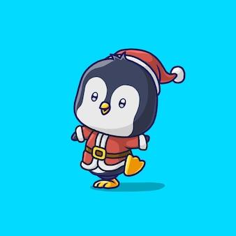 Leuke pinguïn met santadoek die op blauw wordt geïsoleerd