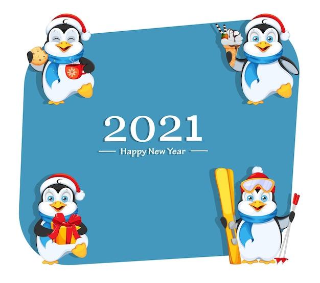 Leuke pinguïn set van vier poses prettige kerstdagen en gelukkig nieuwjaar grappige pinguïn stripfiguur