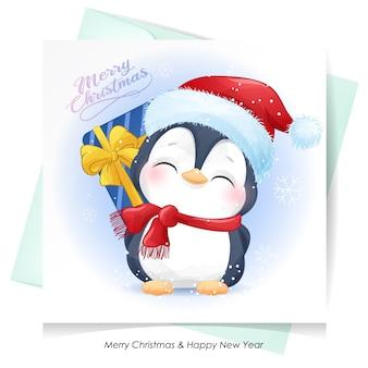 Leuke pinguïn voor kerstmis met waterverfkaart