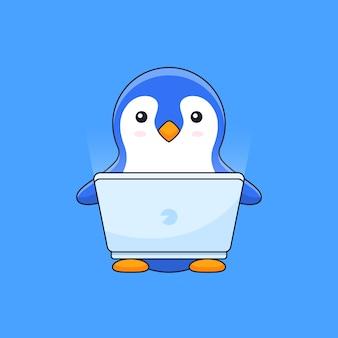 Leuke pinguïn werkt online op computerlaptop de mascotte van de schetsillustratie