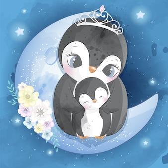 Leuke pinguïnmoeder en baby
