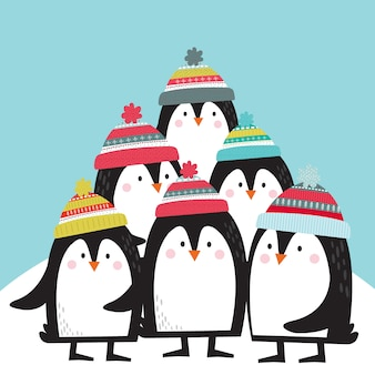 Leuke pinguïns cartoon vectorillustraties