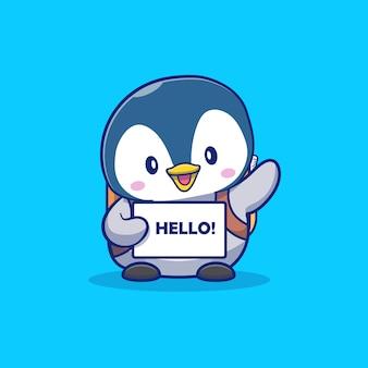 Leuke pinguïnstudent say greeting cartoon icon illustration. dier en onderwijs pictogram concept geïsoleerd. flat cartoon stijl