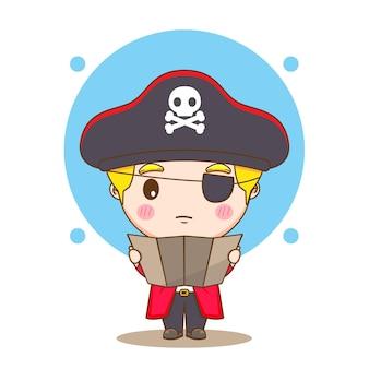 Leuke piraat die een illustratie van het kaartchibikarakter leest