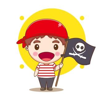 Leuke piraat die een illustratie van het vlagchibikarakter houdt