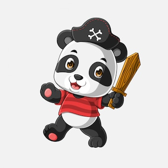 Leuke piraat panda cartoon hand getrokken