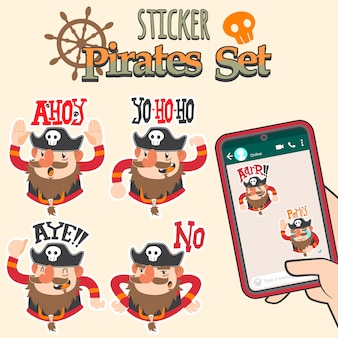 Leuke piraten cartoon sticker set