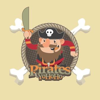 Leuke piraten cartoon vector achtergrond