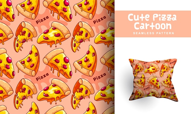 Leuke pizza cartoon naadloze patroon