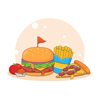 Leuke pizza, hamburger, frietjes en tomatensaus pictogram illustratie. fastfood pictogram concept. cartoon stijl