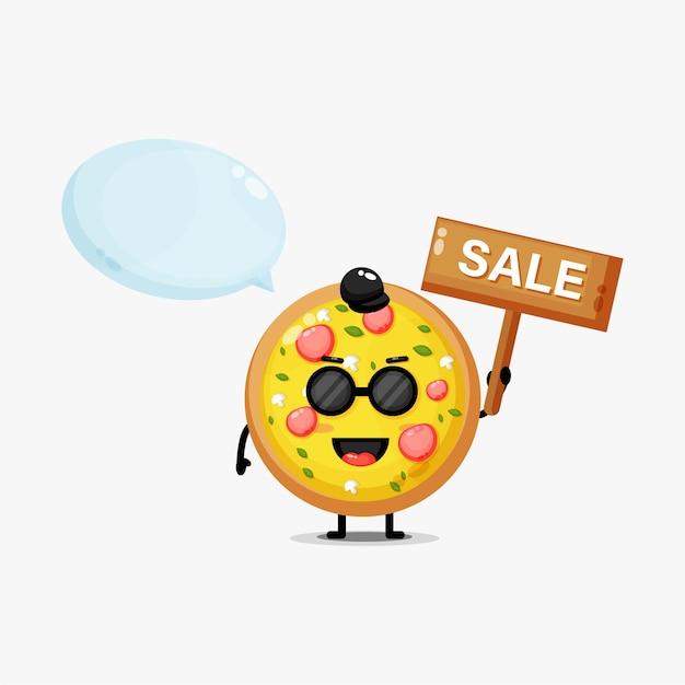 Leuke pizza-mascotte met het verkoopteken