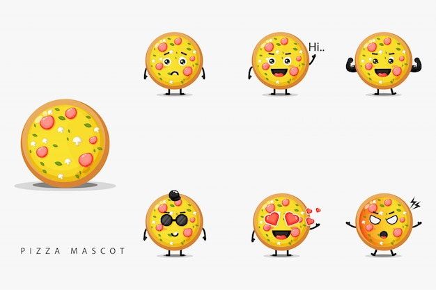 Leuke pizza mascotte set