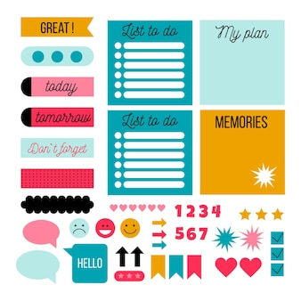 Leuke planner plakboek set Gratis Vector