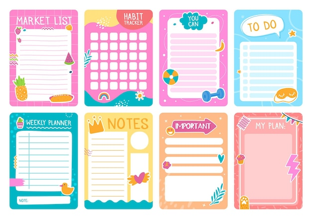 Leuke plannerpagina's met stickers, notitieboekje of dagboekvectorsjabloon