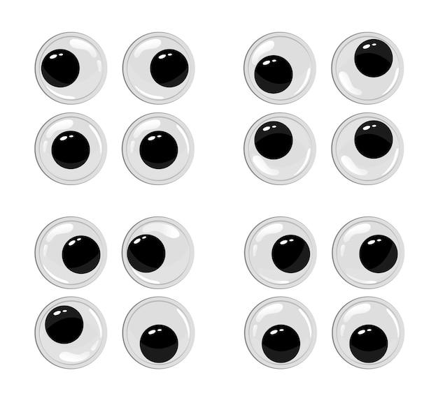 Leuke plastic ogen voor speelgoedpoppen oogbollen vector tekenfilmset