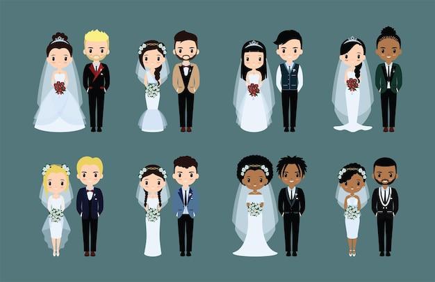 Leuke platte bruidspaar set illustratie uitnodigingscollecties