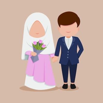 Leuke platte bruiloft cartoon paar hijab
