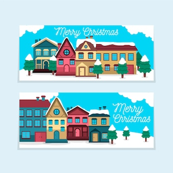 Leuke platte kerst stad banners