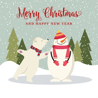 Leuke platte ontwerp kerstkaart met sneeuwpop en ijsbeer