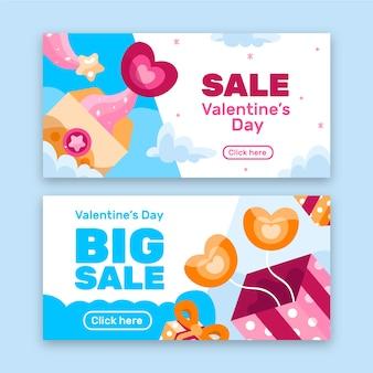 Leuke platte valentijnsdag verkoop banners