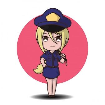 Leuke politiemens die in eenvormige gelukkige status werkt