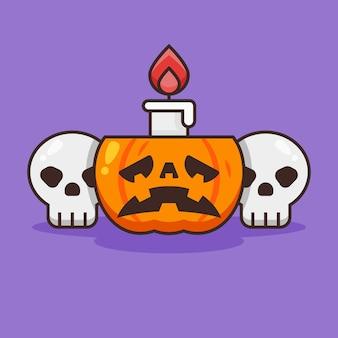 Leuke pompoen halloween met kaars en schedel.