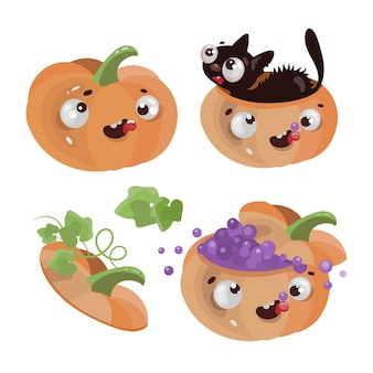 Leuke pompoenen happy halloween holiday cartoon hand getrokken platte ontwerp illustratie
