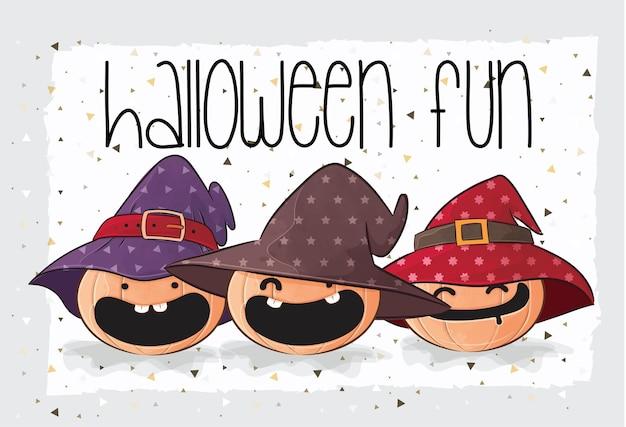 Leuke pompoenheks gelukkig halloween met naadloos patroon Gratis Vector